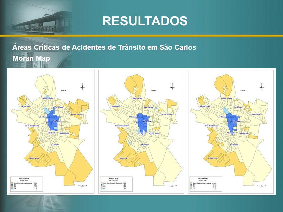 Moran Map Áreas Críticas de Acidentes de Trânsito em São Carlos RESULTADOS