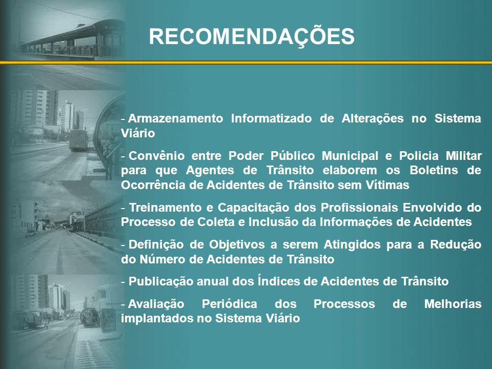 RECOMENDAÇÕES - Armazenamento Informatizado de Alterações no Sistema Viário - Convênio entre Poder Público Municipal e Policia Militar para que Agente