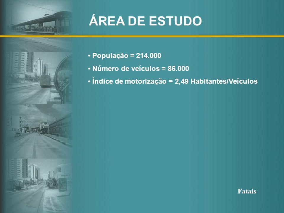 ÁREA DE ESTUDO População = 214.000 Número de veículos = 86.000 Índice de motorização = 2,49 Habitantes/Veículos AcidentesAcidentes Total de AcidentesT