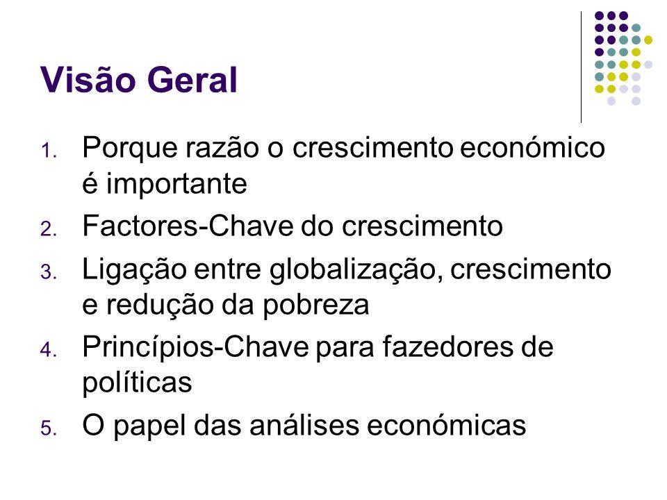 Visão Geral 1. Porque razão o crescimento económico é importante 2. Factores-Chave do crescimento 3. Ligação entre globalização, crescimento e redução