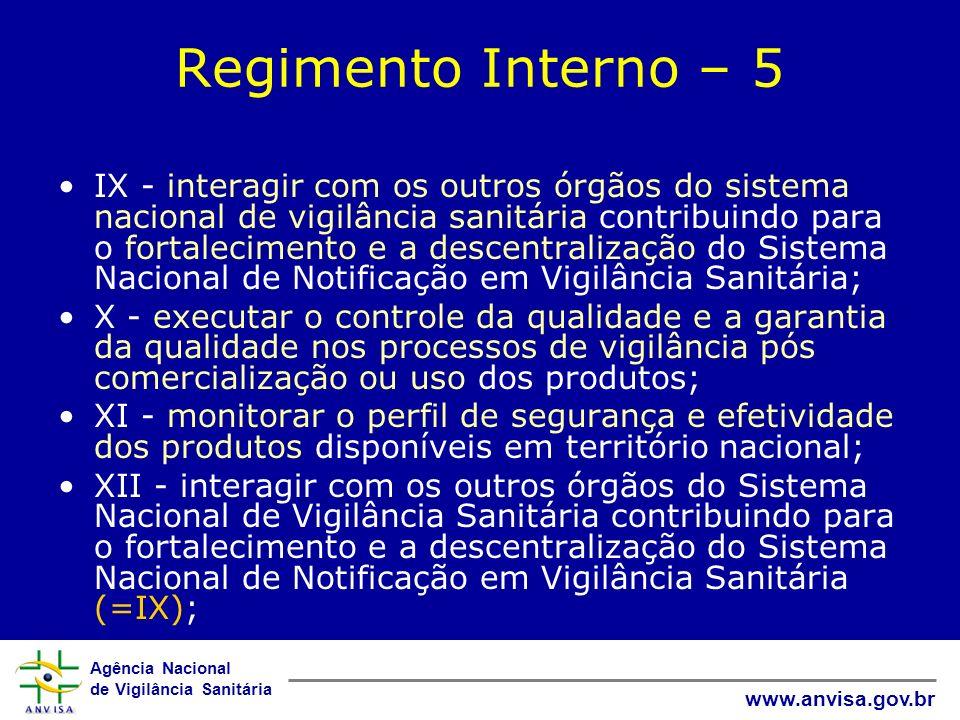 Agência Nacional de Vigilância Sanitária www.anvisa.gov.br Regimento Interno – 5 IX - interagir com os outros órgãos do sistema nacional de vigilância