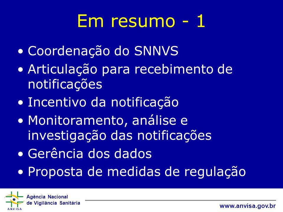 Agência Nacional de Vigilância Sanitária www.anvisa.gov.br Em resumo - 1 Coordenação do SNNVS Articulação para recebimento de notificações Incentivo d