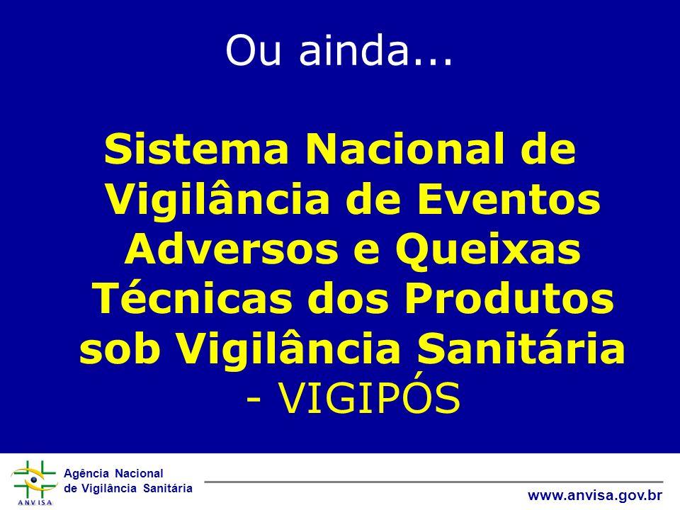 Agência Nacional de Vigilância Sanitária www.anvisa.gov.br Ou ainda... Sistema Nacional de Vigilância de Eventos Adversos e Queixas Técnicas dos Produ