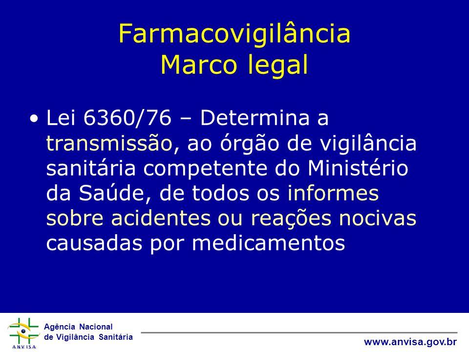 Agência Nacional de Vigilância Sanitária www.anvisa.gov.br Farmacovigilância Marco legal Lei 6360/76 – Determina a transmissão, ao órgão de vigilância