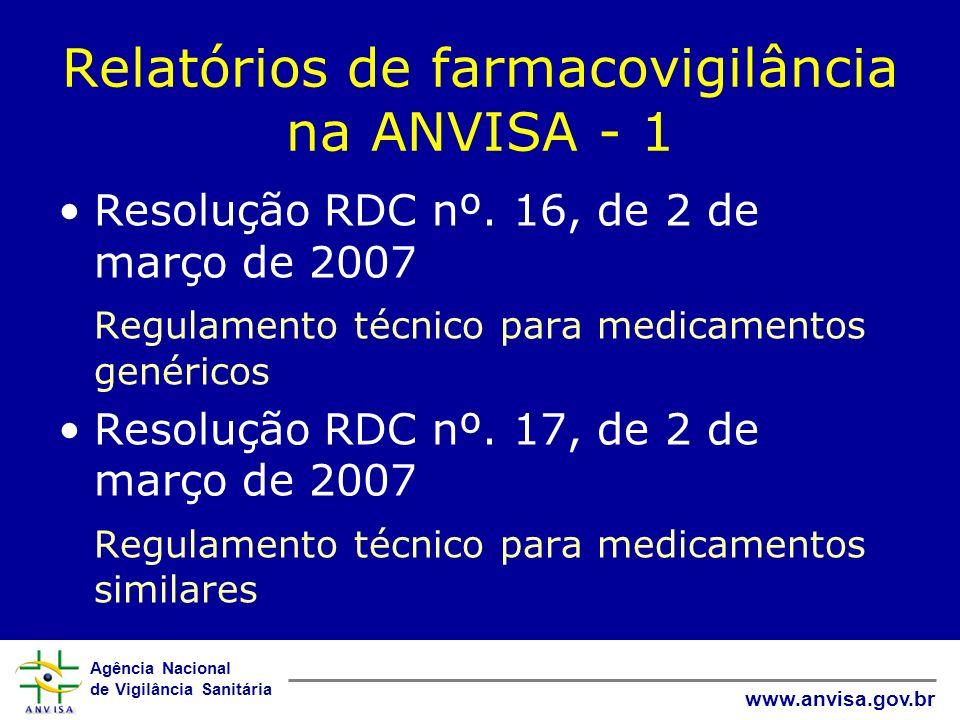 Agência Nacional de Vigilância Sanitária www.anvisa.gov.br Relatórios de farmacovigilância na ANVISA - 1 Resolução RDC nº. 16, de 2 de março de 2007 R
