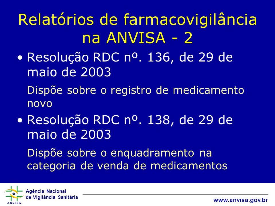 Agência Nacional de Vigilância Sanitária www.anvisa.gov.br Relatórios de farmacovigilância na ANVISA - 2 Resolução RDC nº. 136, de 29 de maio de 2003