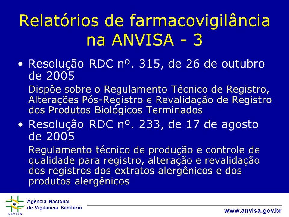 Agência Nacional de Vigilância Sanitária www.anvisa.gov.br Relatórios de farmacovigilância na ANVISA - 3 Resolução RDC nº. 315, de 26 de outubro de 20