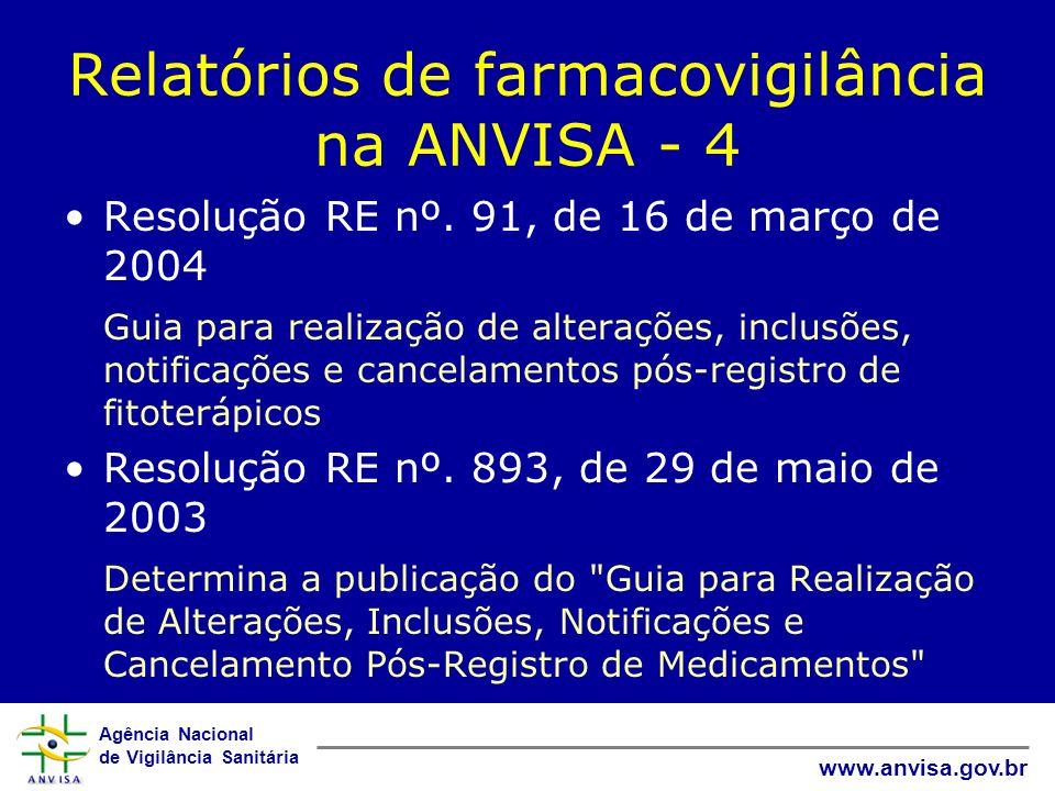 Agência Nacional de Vigilância Sanitária www.anvisa.gov.br Relatórios de farmacovigilância na ANVISA - 4 Resolução RE nº. 91, de 16 de março de 2004 G