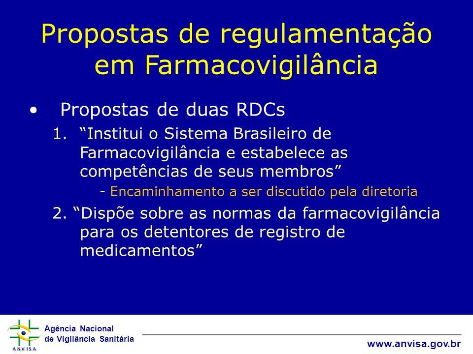 Agência Nacional de Vigilância Sanitária www.anvisa.gov.br Propostas de regulamentação em Farmacovigilância Propostas de duas RDCs 1.Institui o Sistem