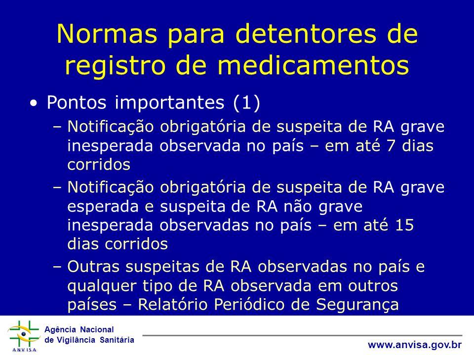 Agência Nacional de Vigilância Sanitária www.anvisa.gov.br Normas para detentores de registro de medicamentos Pontos importantes (1) –Notificação obri