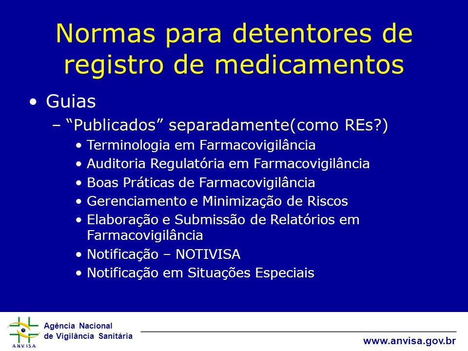 Agência Nacional de Vigilância Sanitária www.anvisa.gov.br Normas para detentores de registro de medicamentos Guias –Publicados separadamente(como REs