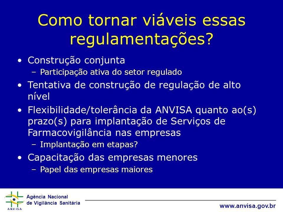 Agência Nacional de Vigilância Sanitária www.anvisa.gov.br Como tornar viáveis essas regulamentações? Construção conjunta –Participação ativa do setor