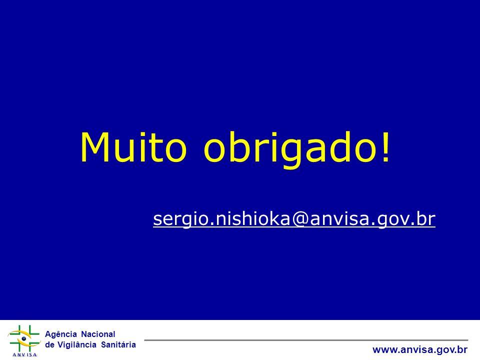 Agência Nacional de Vigilância Sanitária www.anvisa.gov.br Muito obrigado! sergio.nishioka@anvisa.gov.br