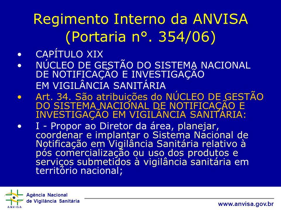 Agência Nacional de Vigilância Sanitária www.anvisa.gov.br Regimento Interno da ANVISA (Portaria n°. 354/06) CAPÍTULO XIX NÚCLEO DE GESTÃO DO SISTEMA