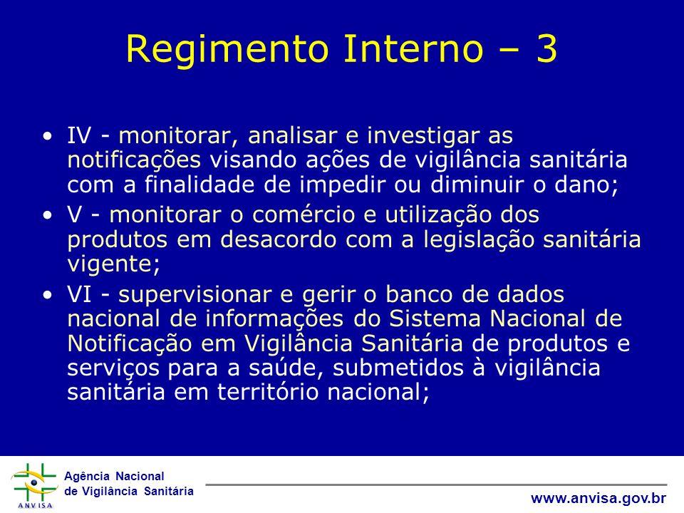 Agência Nacional de Vigilância Sanitária www.anvisa.gov.br Regimento Interno – 3 IV - monitorar, analisar e investigar as notificações visando ações d