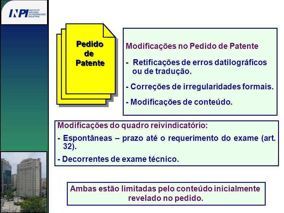 PedidodePatente Modificações no Pedido de Patente - Retificações de erros datilográficos ou de tradução. - Correções de irregularidades formais. - Mod