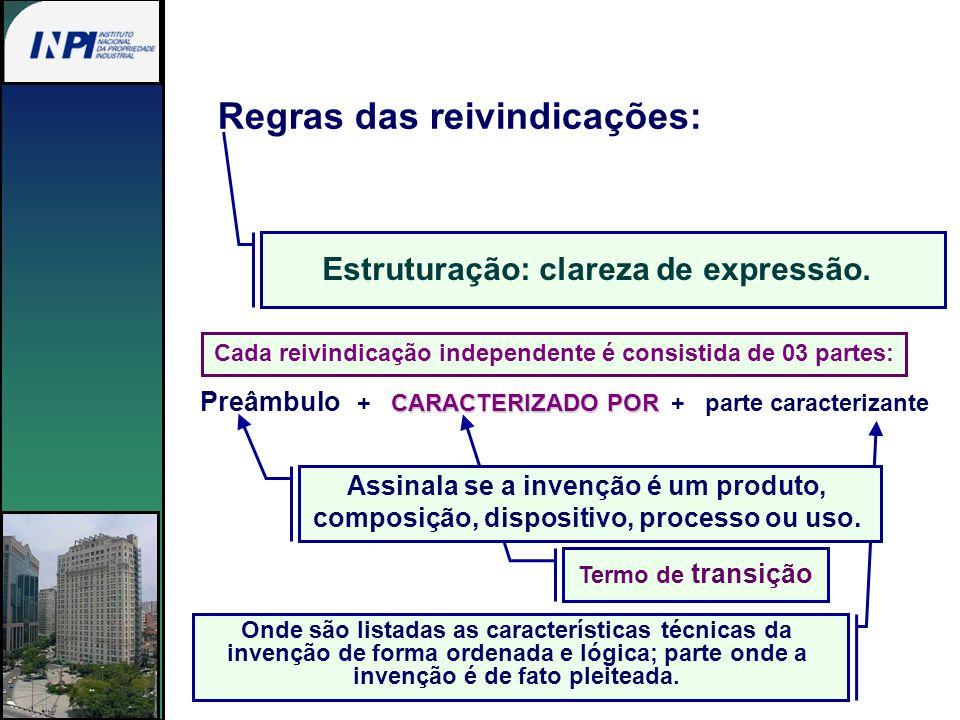 Estruturação: clareza de expressão. Regras das reivindicações: Termo de transição Onde são listadas as características técnicas da invenção de forma o