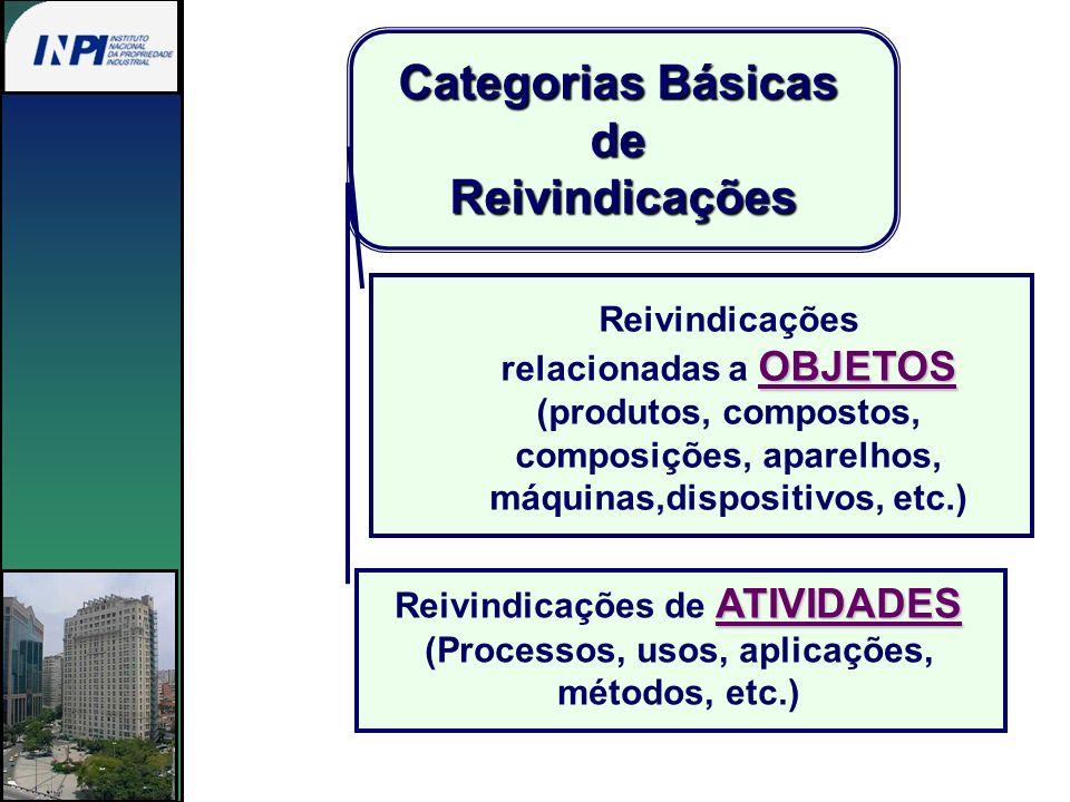 Categorias Básicas deReivindicações Reivindicações OBJETOS relacionadas a OBJETOS (produtos, compostos, composições, aparelhos, máquinas,dispositivos,