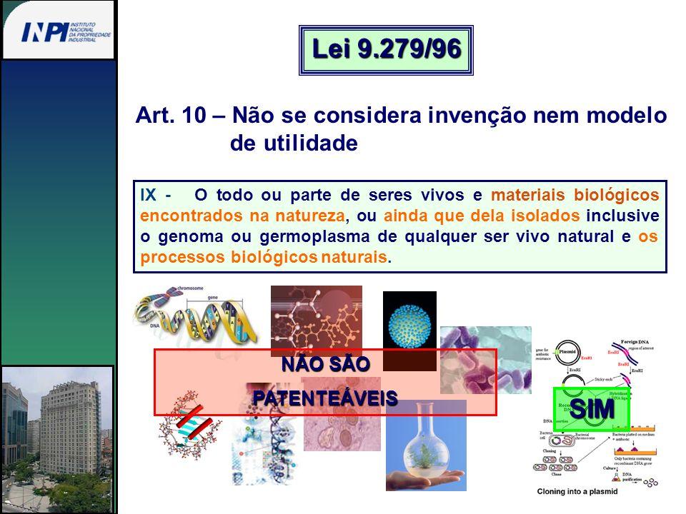 Art. 10 – Não se considera invenção nem modelo de utilidade IX - O todo ou parte de seres vivos e materiais biológicos encontrados na natureza, ou ain