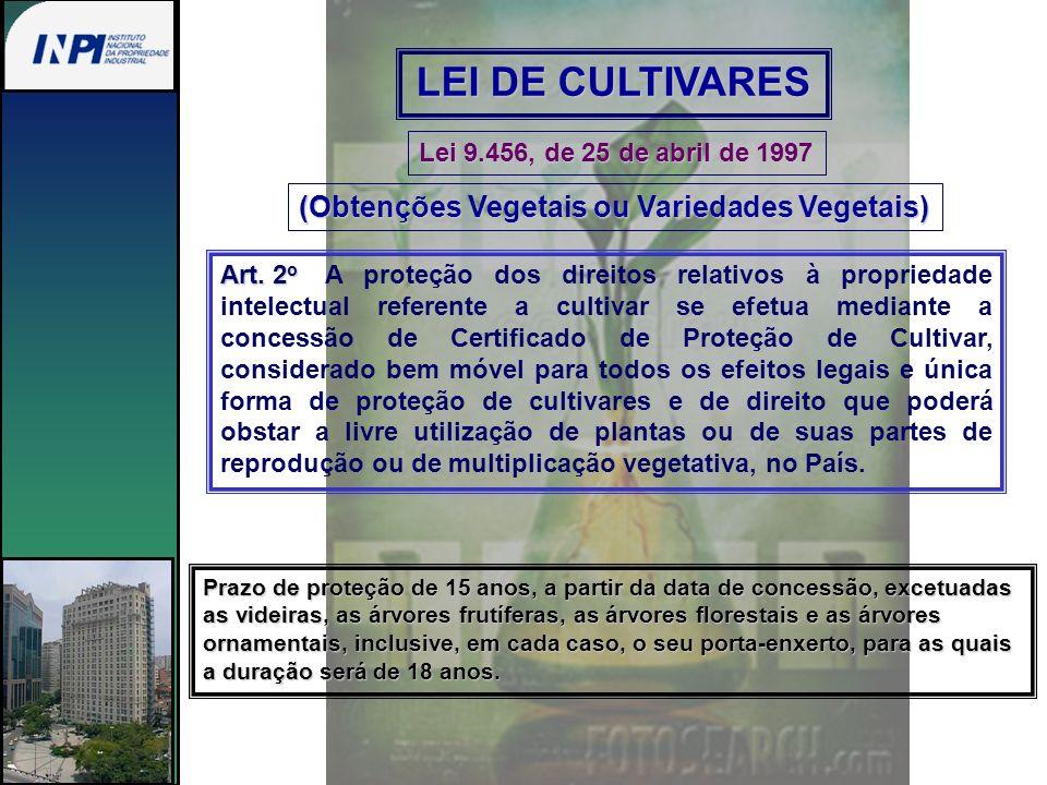 LEI DE CULTIVARES Lei 9.456, de 25 de abril de 1997 (Obtenções Vegetais ou Variedades Vegetais) Art. 2 o Art. 2 o A proteção dos direitos relativos à
