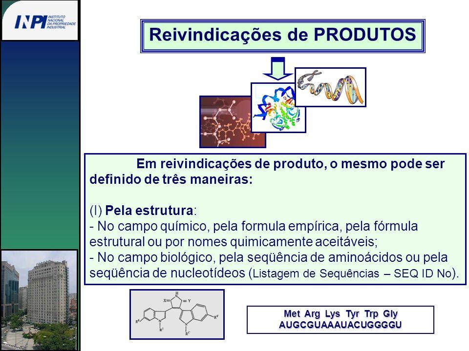 Reivindicações de PRODUTOS Met Arg Lys Tyr Trp Gly AUGCGUAAAUACUGGGGU Em reivindicações de produto, o mesmo pode ser definido de três maneiras: (I) Pe
