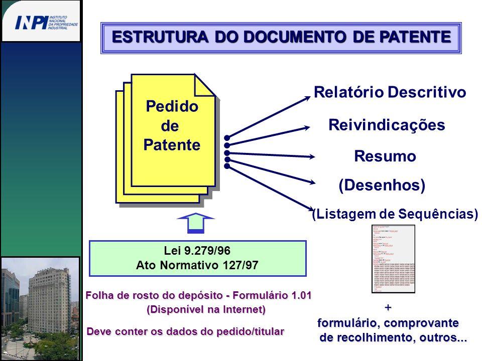Relatório Descritivo Reivindicações (Listagem de Sequências) (Desenhos) Resumo Pedido de Patente Lei 9.279/96 Ato Normativo 127/97 ESTRUTURA DO DOCUME