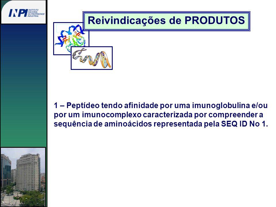 Reivindicações de PRODUTOS 1 – Peptídeo tendo afinidade por uma imunoglobulina e/ou por um imunocomplexo caracterizada por compreender a sequência de