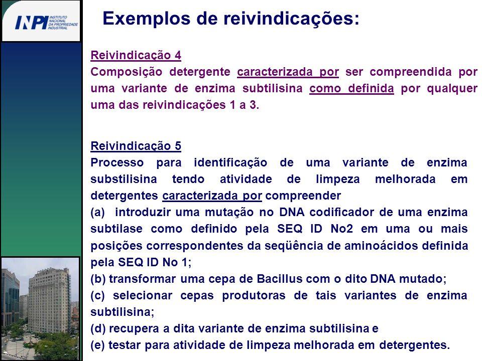 Exemplos de reivindicações: Reivindicação 4 Composição detergente caracterizada por ser compreendida por uma variante de enzima subtilisina como defin