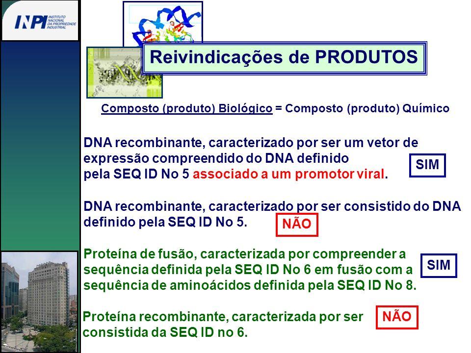 Composto (produto) Biológico = Composto (produto) Químico DNA recombinante, caracterizado por ser um vetor de expressão compreendido do DNA definido p