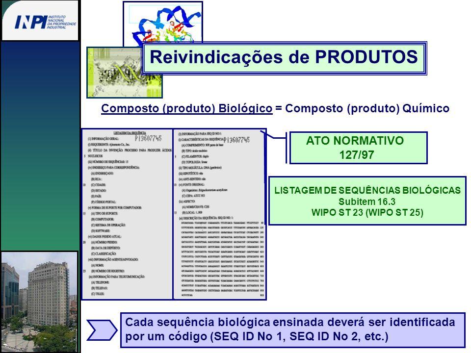 Composto (produto) Biológico = Composto (produto) Químico ATO NORMATIVO 127/97 LISTAGEM DE SEQUÊNCIAS BIOLÓGICAS Subitem 16.3 WIPO ST 23 (WIPO ST 25)