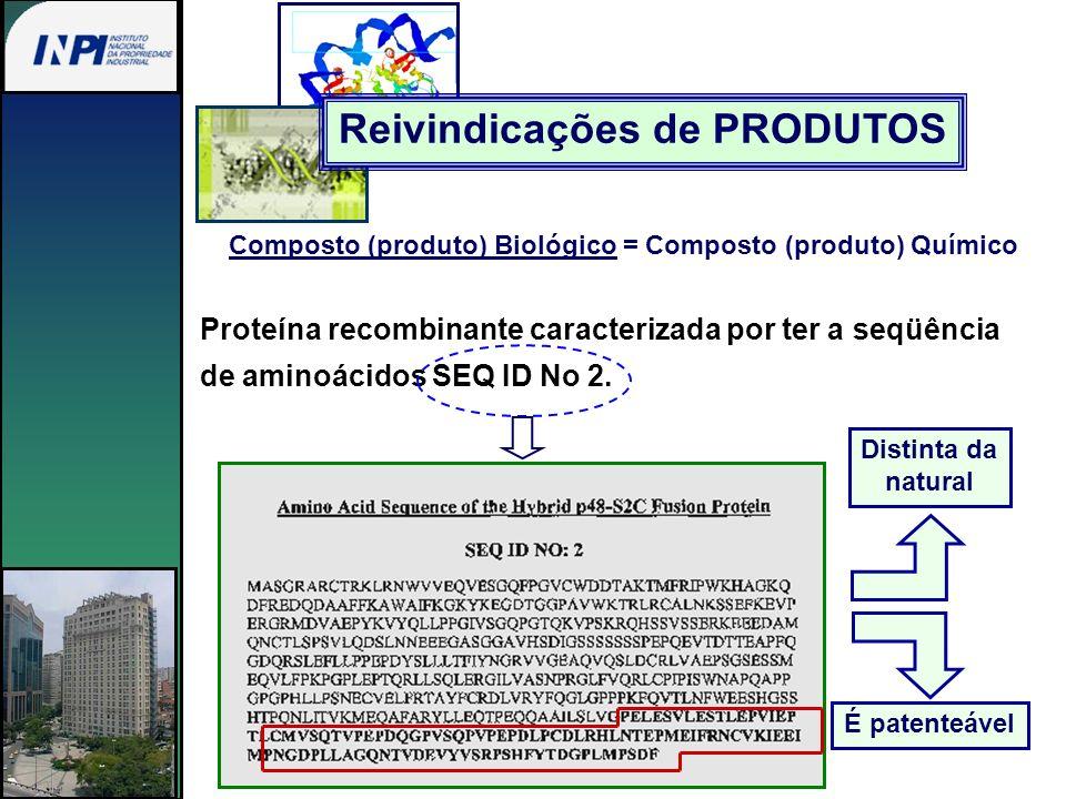Composto (produto) Biológico = Composto (produto) Químico Proteína recombinante caracterizada por ter a seqüência de aminoácidos SEQ ID No 2. Reivindi