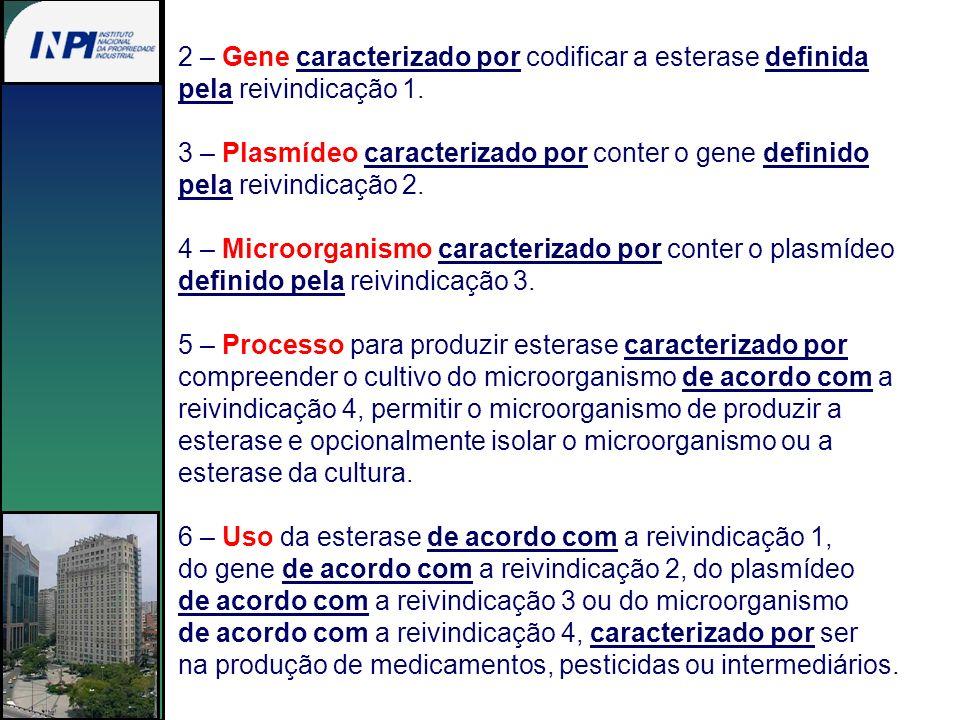 2 – Gene caracterizado por codificar a esterase definida pela reivindicação 1. 3 – Plasmídeo caracterizado por conter o gene definido pela reivindicaç