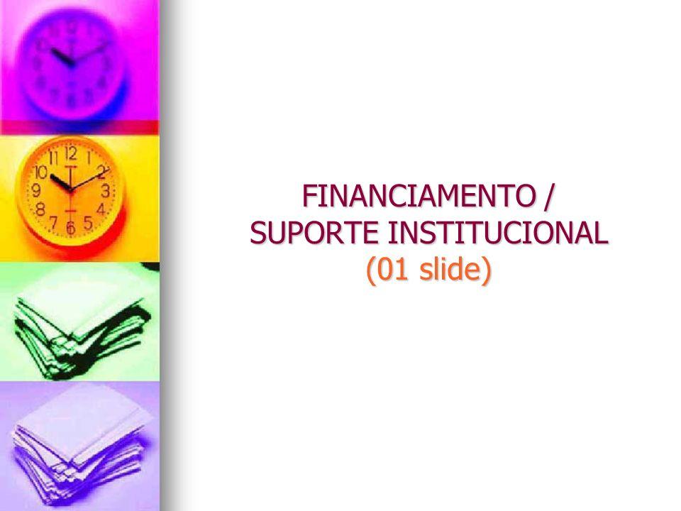 FINANCIAMENTO / SUPORTE INSTITUCIONAL (01 slide)