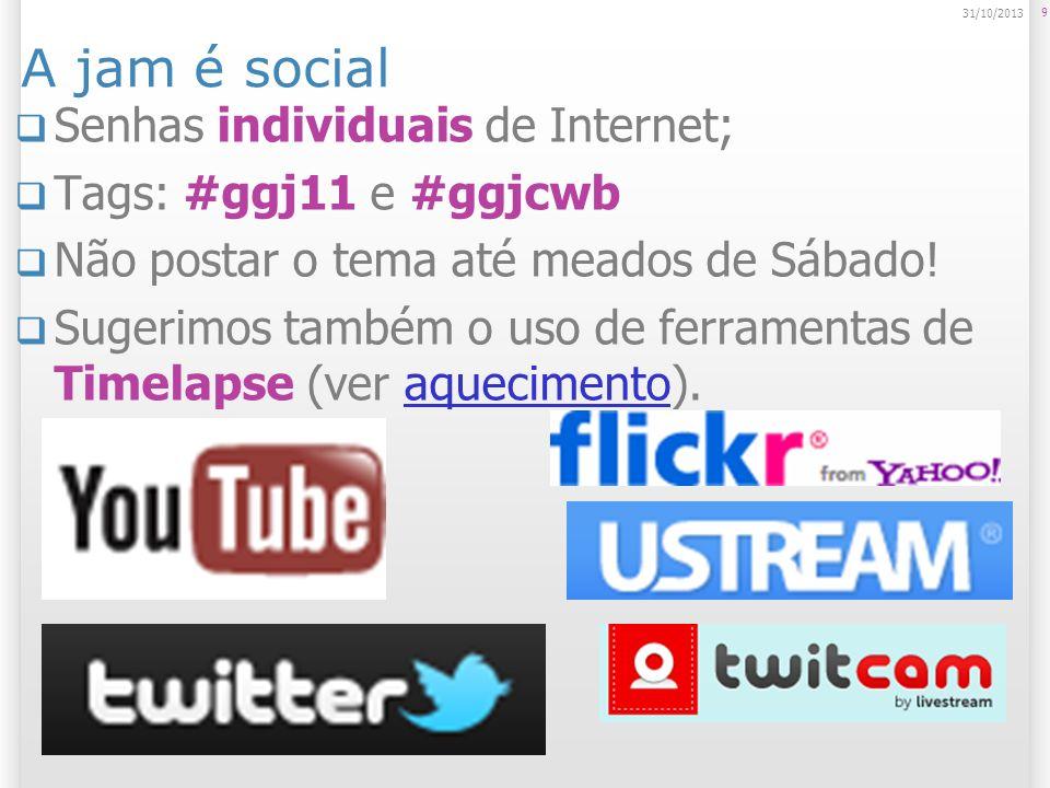 A jam é social Senhas individuais de Internet; Tags: #ggj11 e #ggjcwb Não postar o tema até meados de Sábado.