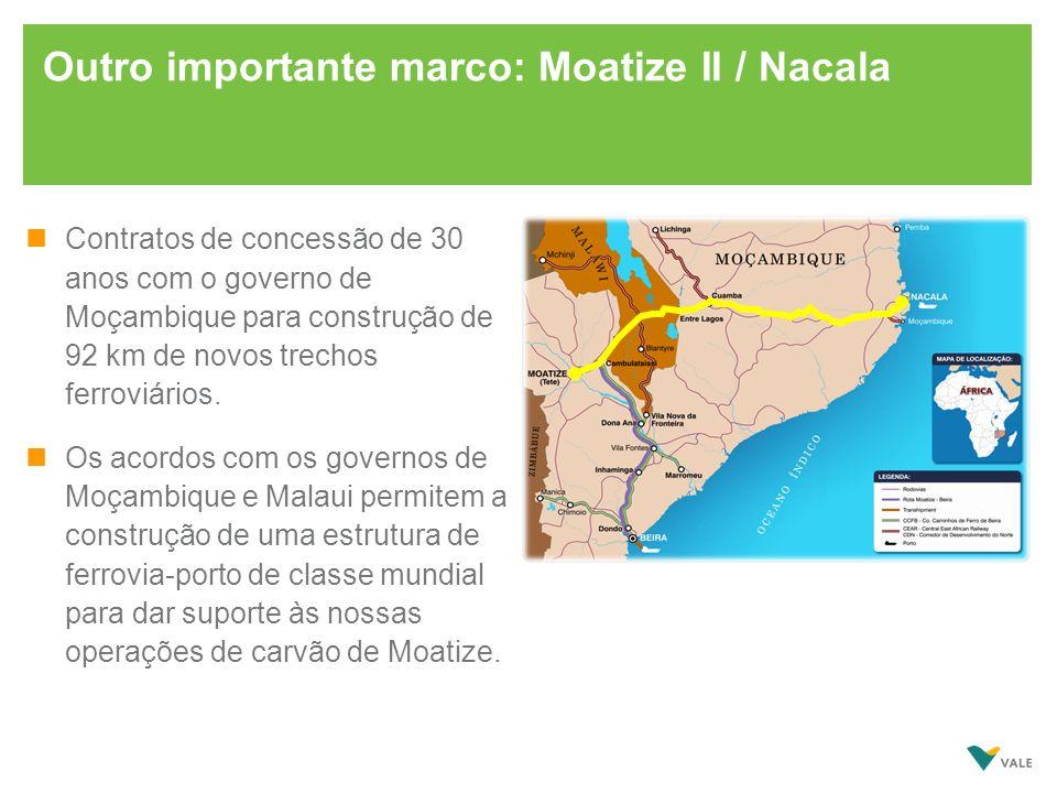 Outro importante marco: Moatize II / Nacala nContratos de concessão de 30 anos com o governo de Moçambique para construção de 92 km de novos trechos f