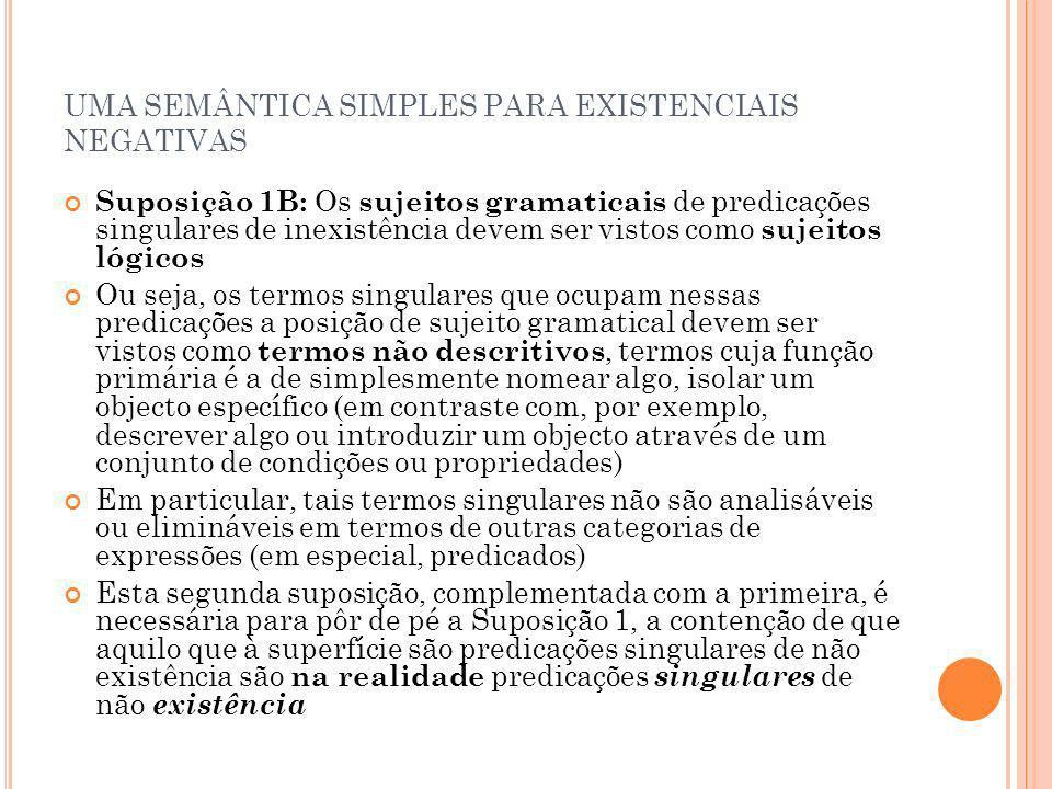 UMA SEMÂNTICA SIMPLES PARA EXISTENCIAIS NEGATIVAS Suposição 1B: Os sujeitos gramaticais de predicações singulares de inexistência devem ser vistos com