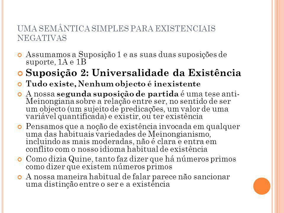 UMA SEMÂNTICA SIMPLES PARA EXISTENCIAIS NEGATIVAS Assumamos a Suposição 1 e as suas duas suposições de suporte, 1A e 1B Suposição 2: Universalidade da