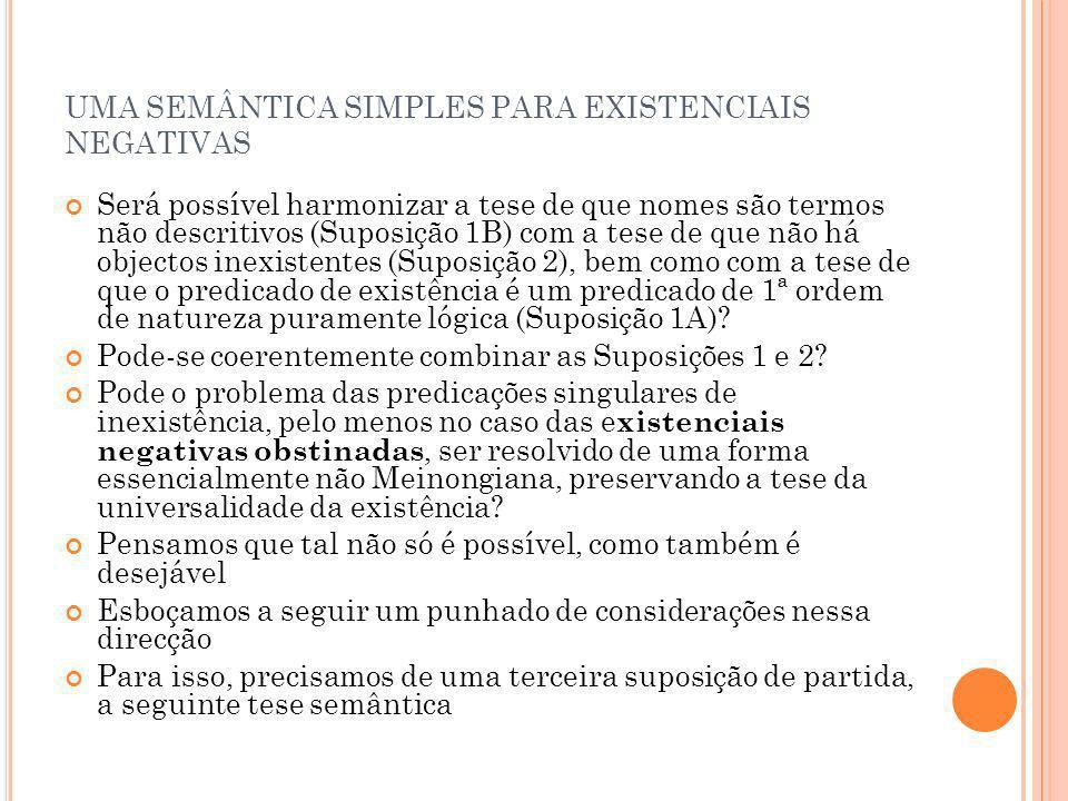 UMA SEMÂNTICA SIMPLES PARA EXISTENCIAIS NEGATIVAS Será possível harmonizar a tese de que nomes são termos não descritivos (Suposição 1B) com a tese de