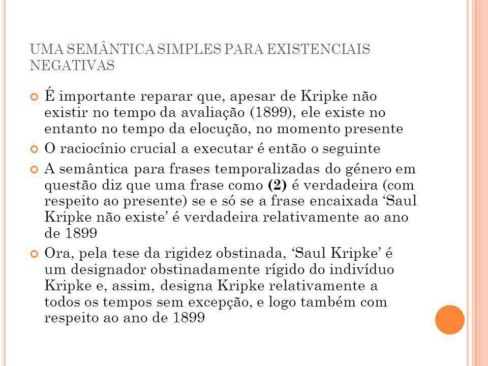 UMA SEMÂNTICA SIMPLES PARA EXISTENCIAIS NEGATIVAS É importante reparar que, apesar de Kripke não existir no tempo da avaliação (1899), ele existe no e