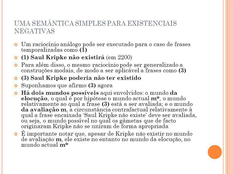 UMA SEMÂNTICA SIMPLES PARA EXISTENCIAIS NEGATIVAS Um raciocínio análogo pode ser executado para o caso de frases temporalizadas como (1) (1) Saul Krip