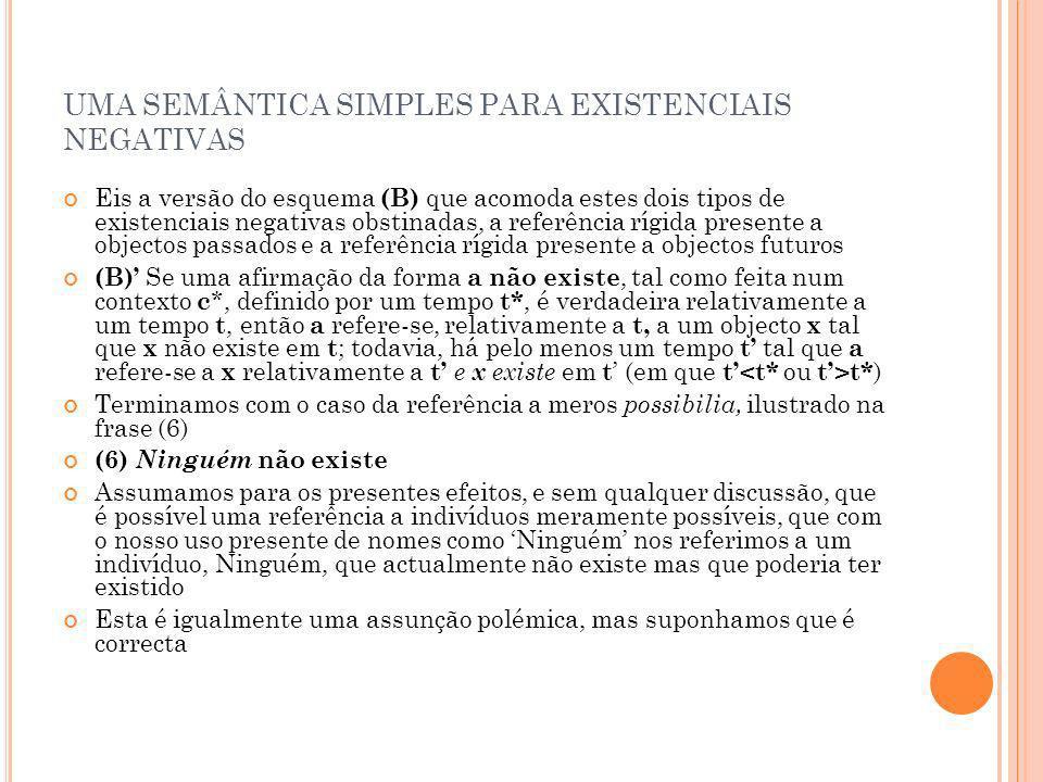 UMA SEMÂNTICA SIMPLES PARA EXISTENCIAIS NEGATIVAS Eis a versão do esquema (B) que acomoda estes dois tipos de existenciais negativas obstinadas, a ref