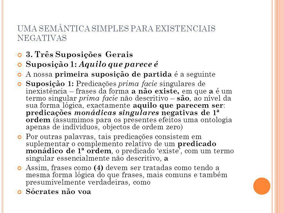 UMA SEMÂNTICA SIMPLES PARA EXISTENCIAIS NEGATIVAS 3. Três Suposições Gerais Suposição 1: Aquilo que parece é A nossa primeira suposição de partida é a