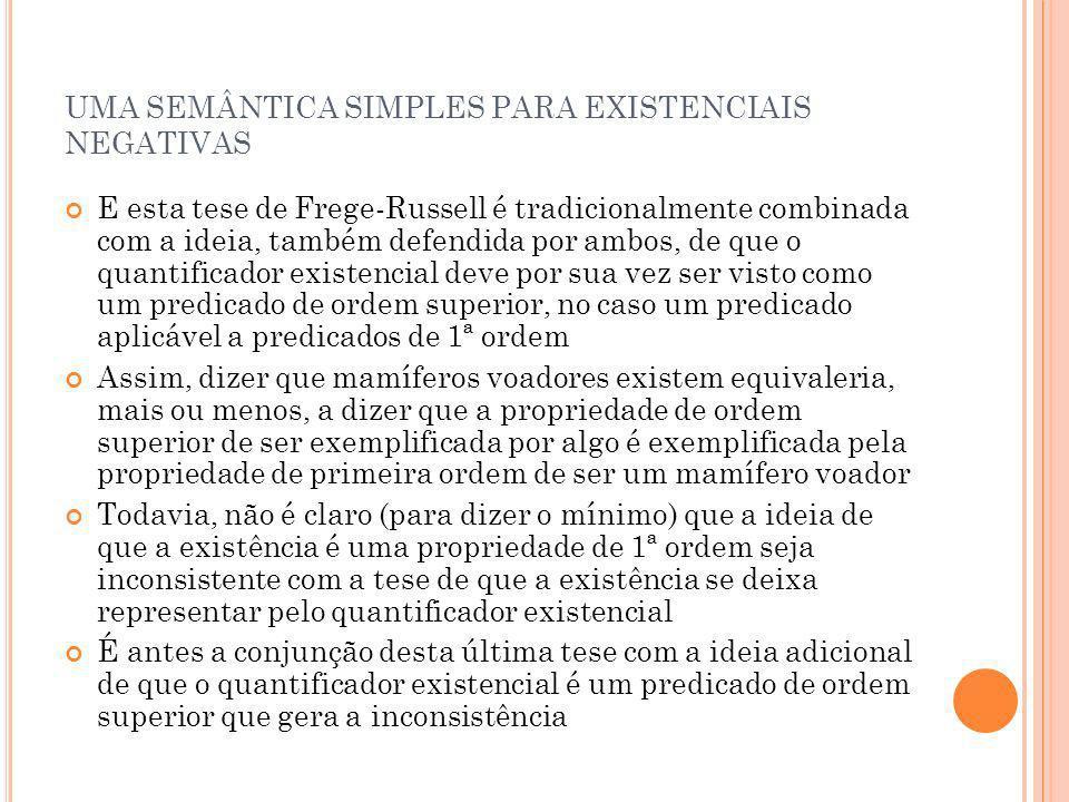 UMA SEMÂNTICA SIMPLES PARA EXISTENCIAIS NEGATIVAS E esta tese de Frege-Russell é tradicionalmente combinada com a ideia, também defendida por ambos, d