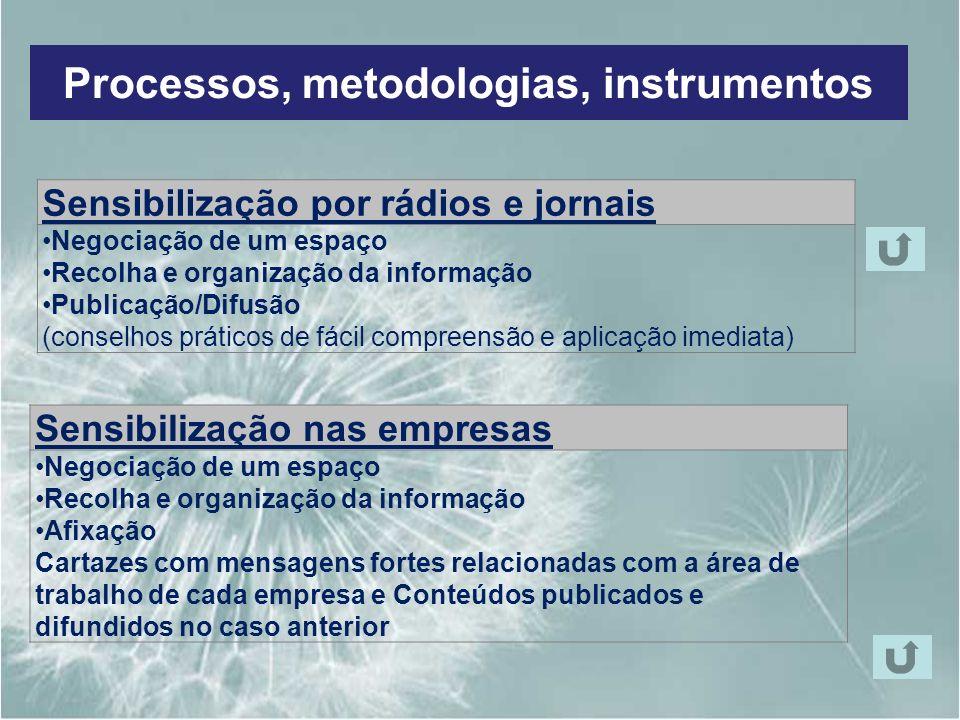 Processos, metodologias, instrumentos Sensibilização por rádios e jornais Negociação de um espaço Recolha e organização da informação Publicação/Difus