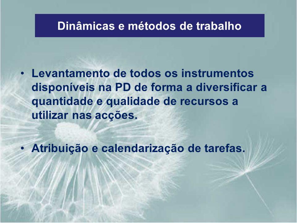 Dinâmicas e métodos de trabalho Levantamento de todos os instrumentos disponíveis na PD de forma a diversificar a quantidade e qualidade de recursos a