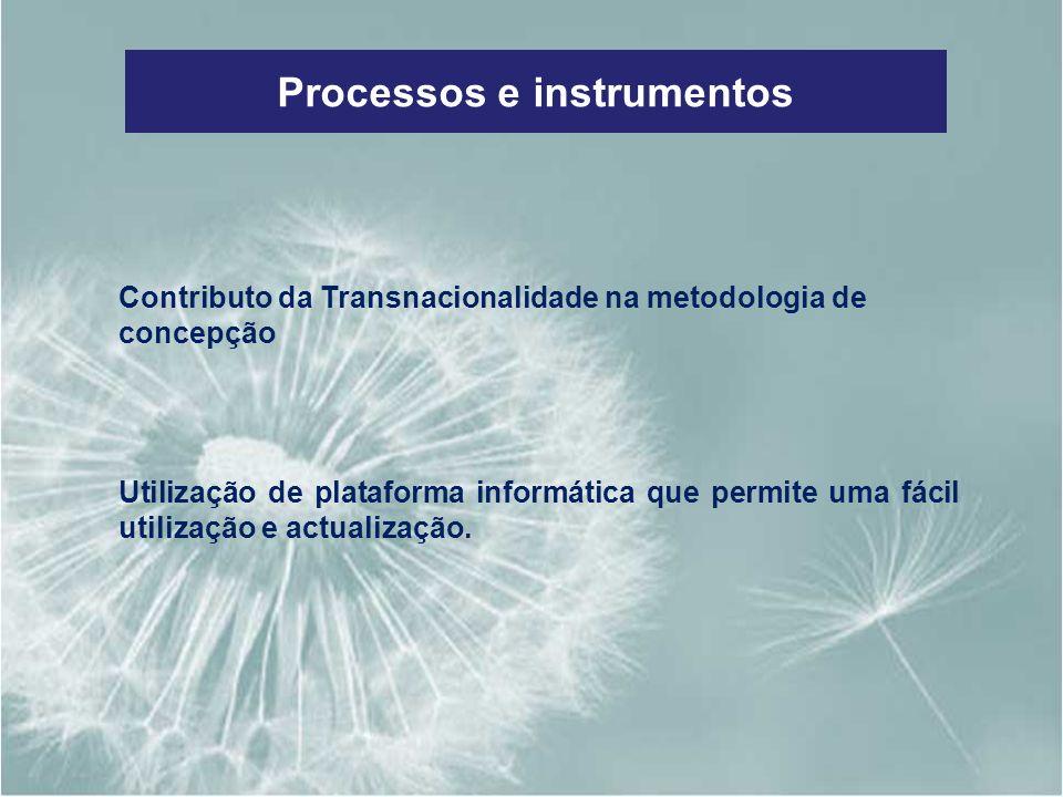 Processos e instrumentos Contributo da Transnacionalidade na metodologia de concepção Utilização de plataforma informática que permite uma fácil utili