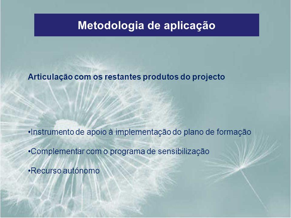 Metodologia de aplicação Articulação com os restantes produtos do projecto Instrumento de apoio à implementação do plano de formação Complementar com