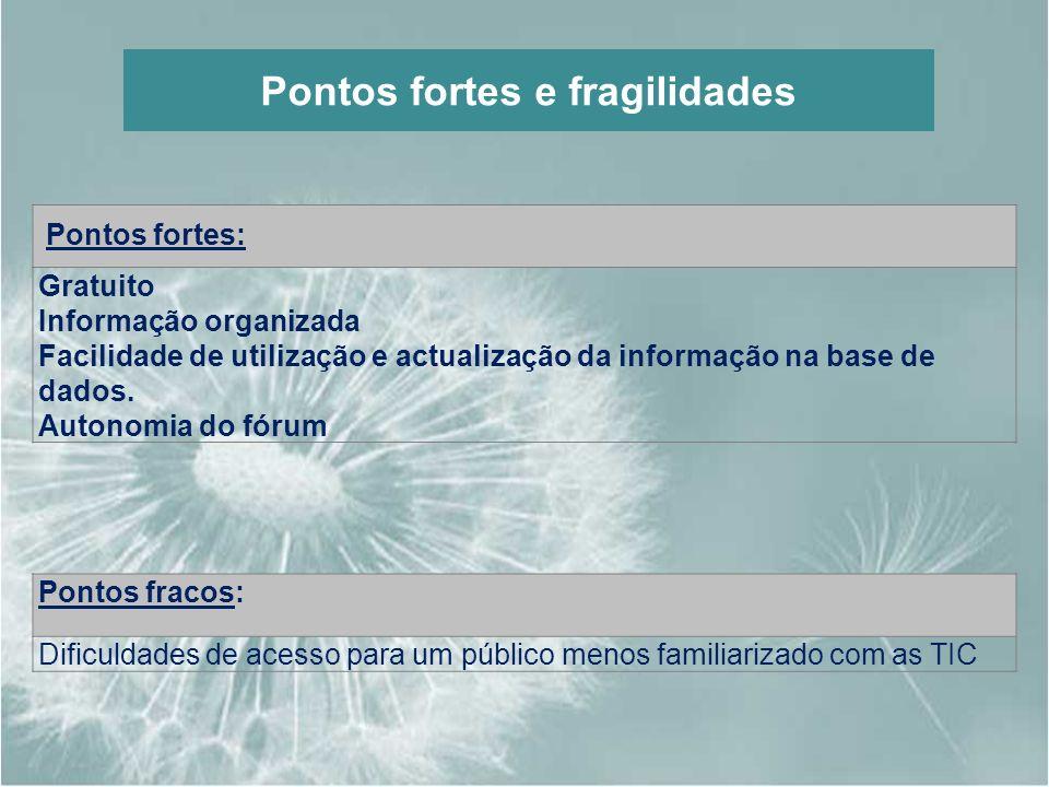 Pontos fortes e fragilidades Pontos fortes: Gratuito Informação organizada Facilidade de utilização e actualização da informação na base de dados. Aut