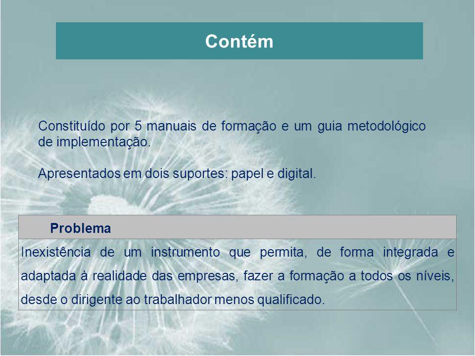 Constituído por 5 manuais de formação e um guia metodológico de implementação. Apresentados em dois suportes: papel e digital. Problema Inexistência d