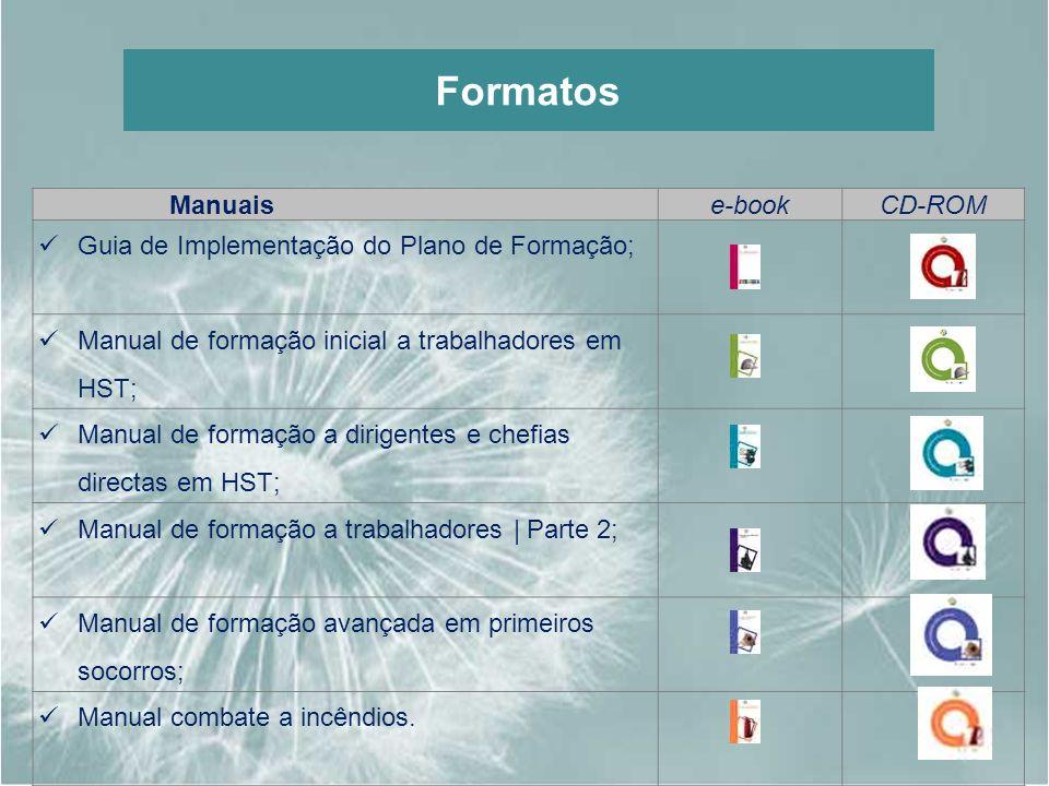 Manuaise-bookCD-ROM Guia de Implementação do Plano de Formação; Manual de formação inicial a trabalhadores em HST; Manual de formação a dirigentes e c